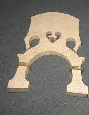ADJUSTABLE DOUBLE BASS BRIDGE, MAPLE WITH SCREW, FRENCH STYLE, 3/4-4/4 UK SELLER