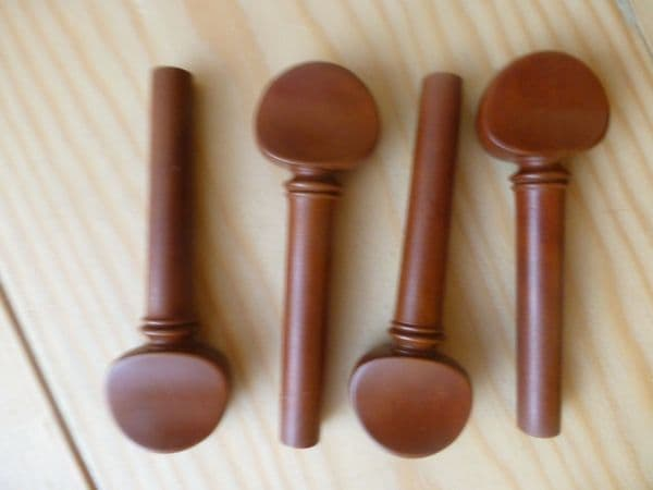 BOXWOOD VIOLIN PEGS, 4 PIECES, ENGLISH STYLE, 4/4 FULL SIZE PROF. QUALITY