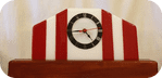 Mantle clock 30cm wide red and white stripe