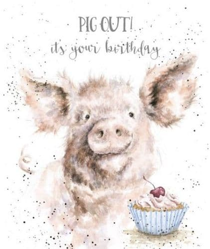 'Pig Out' Birthday Card OC083