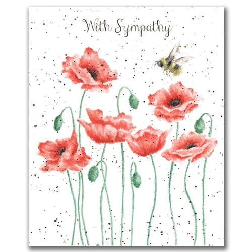 'Poppies and Bee' Sympathy Card - OC055