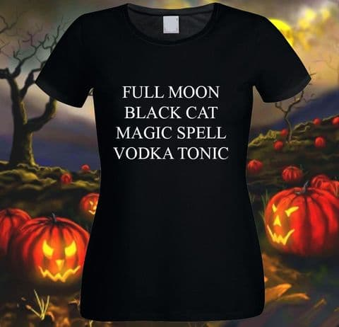 Ladies Halloween T-shirt - Full Moon