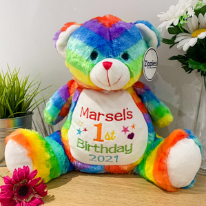 Personalised Birthday Rainbow Teddy Bear