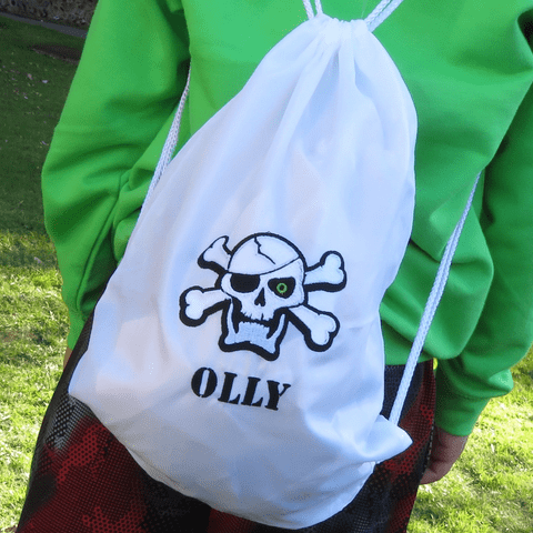 Personalised Drawstring Bag - Skull & Crossbones