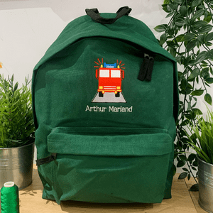 Personalised Fire Engine Backpack Bag