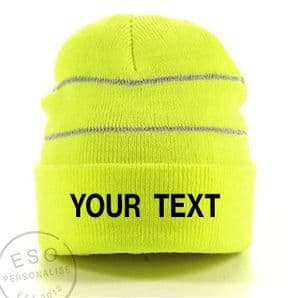 Personalised Hi-Visibilty Knitted Beanie Hat