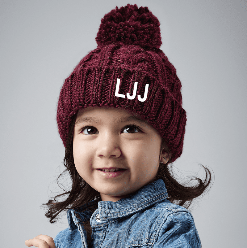 Personalised Infant Cable Knit Melange Beanie