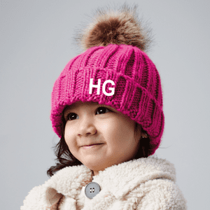 Personalised Infant Faux Fur Pop Pom Chunky Beanie