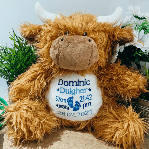 Personalised New Baby Highland Cow Teddy Bear