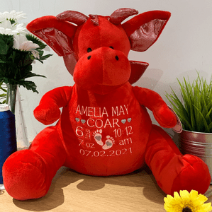Personalised New Baby Red Dragon