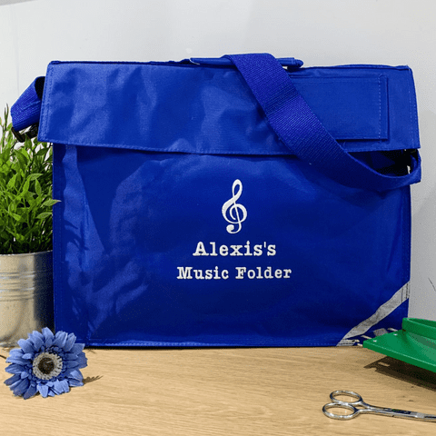 Personalised Treble Clef design Music Folder / School Book Bag with strap