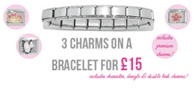 3 Charms on an Italian charm bracelets (excludes all premium charms)