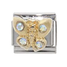Butterfly with stones enamel - 9mm classic Italian charm