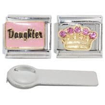 Daughter Set Special - Pink Daughter, Gold pink stone crown and Charm tool