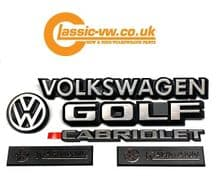 Mk1 Golf Cabriolet Badge Set. 191853601B, 155853901, 321853685C, 191853687F, 155853687F