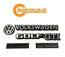 Mk1 Golf Cabriolet GTI Badge Set. 191853601B, 155853901, 321853685C, 191853687C