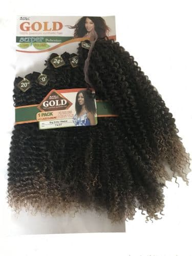 Noble Gold Big Kinky Curly Weave  Pack of 7pcs set with Closure