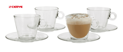 Glass  cappuccino  cup x 4