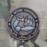 Mil-Spec Monkey Velcro Morale Patch Pork Eating Crusader