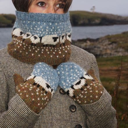 Baa-ble Cowl and Mitts - Donna Smith Designs