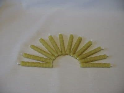 12 Handmade Rolled Pure Beeswax Birthday Cake Candles 50mm  X 7mm (Free Shipping UK) m