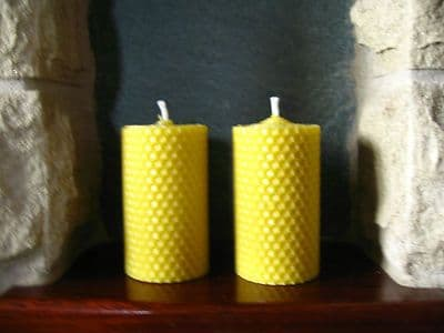 2 Handmade Pure Beeswax Rolled Votive Candle 3.5 x 2in (Free Shipping UK)