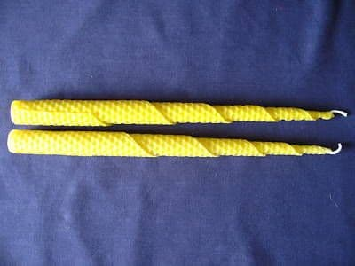 2 Handmade Pure Beeswax Taper Dinner / Dining Candles 27.5cm x 1.8cm (Free Shipping UK)