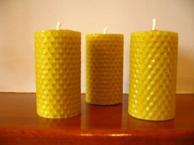3 Handmade Pure Beeswax Rolled Votive Candle 3.5in x1.5in (Free Shipping UK)