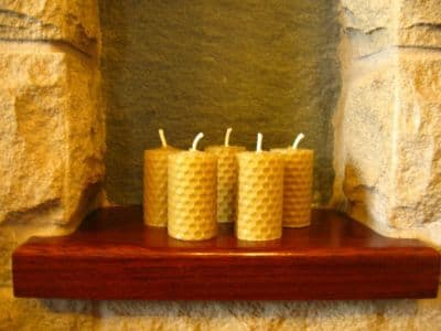 5 Handmade Pure Beeswax Rolled Votive Candle 2in x1.1/8in (Free Shipping UK)