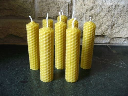 8 Handmade Pure Beeswax Pillar Candles 4in x 1in (Free Shipping UK)