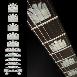 Block Crown White Silver Fret Markers Inlay Sticker Decal Guitar
