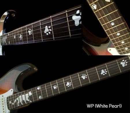 Cats Foot Print Fret Markers Inlay Stickers Decals Guitar White Silver
