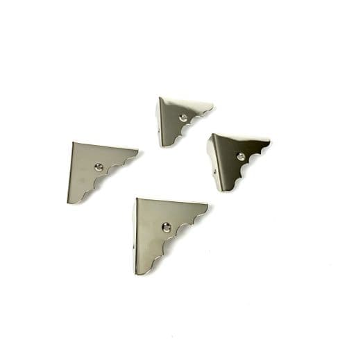 Cigar Box Guitar Part Parts - Silver Corner Pack of 4 with Screws