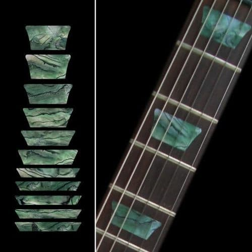Dish / TRAPEZOID Les Paul Fret Markers Inlay Sticker Decal Guitar Abalone Green
