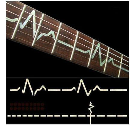 EKG Line Electrocardiography White silver Fret Markers Inlay Sticker Decal Guitar