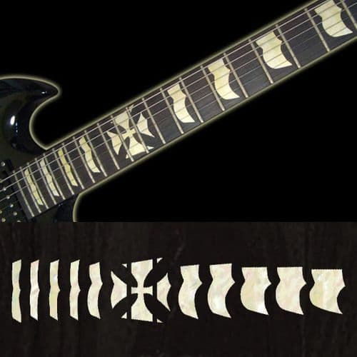 Hetfield Iron Cross white silver  Fret Markers Inlay Sticker Decal Guitar