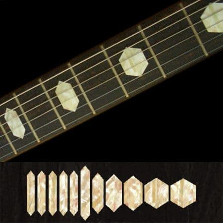 Hexagon Fret Markers Inlay Stickers Decals Guitar White Silver