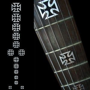 Iron Cross Black Pearl Fret Markers Inlay Sticker Decal Guitar