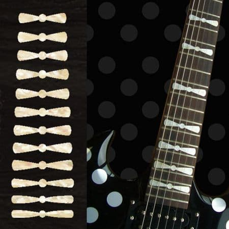 Randy Rhoads Bow Tie Fret Markers Inlay Stickers Decals White Silver