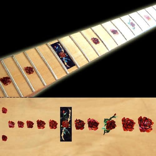 Rose Abalone Red Fret Markers Inlay Sticker Decal Guitar