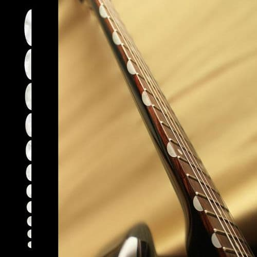 Thumbnail (Half Moon) Fret Markers Inlay Stickers Decals white silver