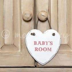 'BABY'S ROOM' Heart Sign Pink | Baby Girl's Room Wooden Heart Sign