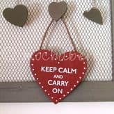 'Keep Calm And Carry On' Red Wooden Heart