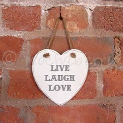 'LIVE LAUGH LOVE' Heart Sign | 'LIVE LAUGH LOVE' Wooden Heart Sign