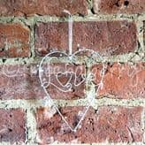 'Love' Cream Wire Hanging Heart with Beads