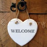 'WELCOME' Wooden Heart