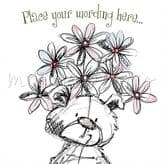 Bear And Flowers Personalised Card PS03