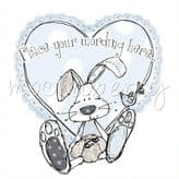 Blue Bunny And Bird Personalised Card PLM36