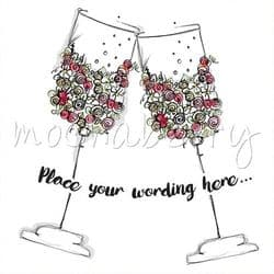 Personalised Wedding Cards | Champagne Flutes Card | Wedding Cards