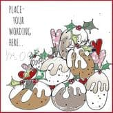 Christmas Puddings Personalised Card PX09